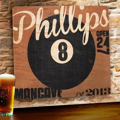 Picture of Personalized 8-Ball Personalized Wood Tavern and Bar Sign