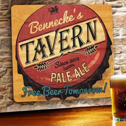 Picture of Free Beer Tomorrow Personalized Wood Tavern and Bar Sign