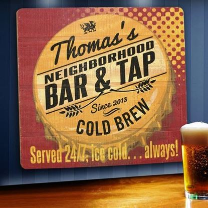 Picture of Personalized Served 24/7 Wood Tavern and Bar Sign