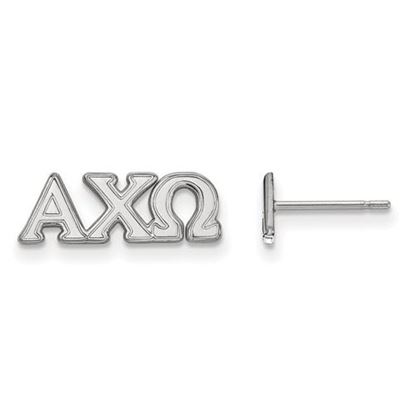 Picture of Alpha Chi Omega Sorority Sterling Silver Extra Small Post Earrings