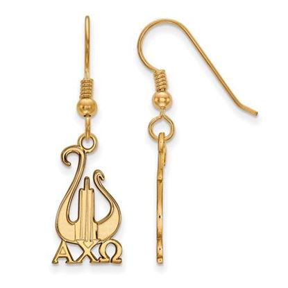 Picture of Alpha Chi Omega Sorority Sterling Silver Gold Plated Medium Dangle Earrings