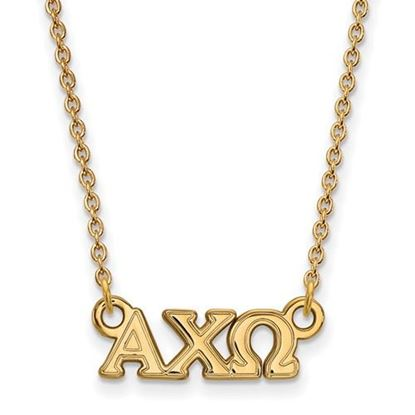 Picture of Alpha Chi Omega Sorority Sterling Silver Gold Plated Extra Small Pendant Necklace