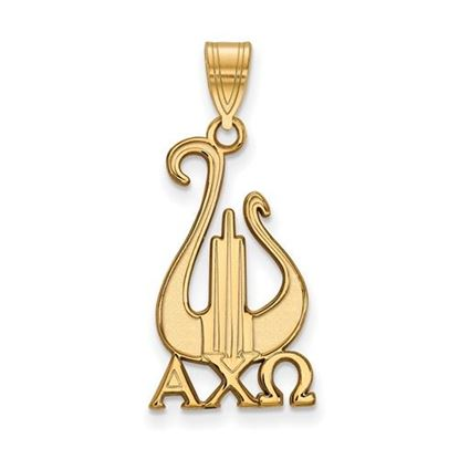 Picture of Alpha Chi Omega Sorority Sterling Silver Gold Plated Medium Pendant