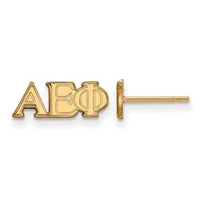 Picture of Alpha Epsilon Phi Sorority Sterling Silver Gold Plated Extra Small Post Earrings