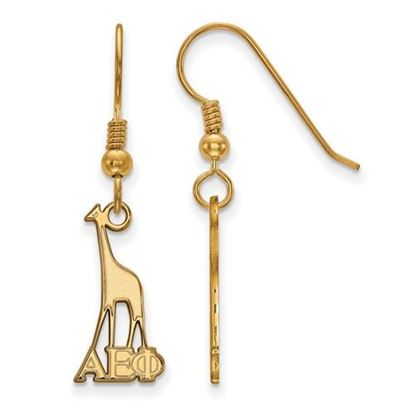 Picture of Alpha Epsilon Phi Sorority Sterling Silver Gold Plated Medium Dangle Earrings
