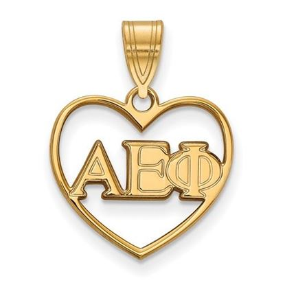 Picture of Alpha Epsilon Phi Sorority Sterling Silver Gold Plated Heart Pendant