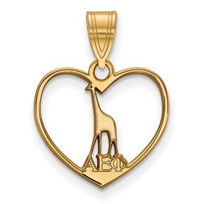 Picture of Alpha Epsilon Phi Sorority Gold Plated Giraffe Heart Pendant
