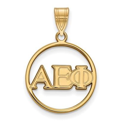 Picture of Alpha Epsilon Phi Sorority Sterling Silver Gold Plated Small Circle Pendant