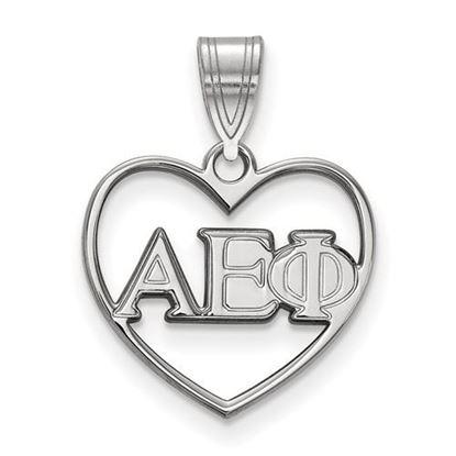 Picture of Alpha Epsilon Phi Sorority Sterling Silver Heart Pendant