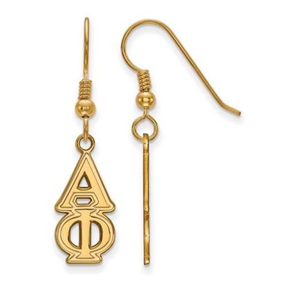Picture of Alpha Phi Sorority Sterling Silver Gold Plated Dangle Medium Earrings