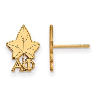 Picture of Alpha Phi Sorority Sterling Silver Gold Plated Extra Small Post Earrings