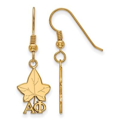 Picture of Alpha Phi Sorority Sterling Silver Gold Plated Medium Dangle Earrings