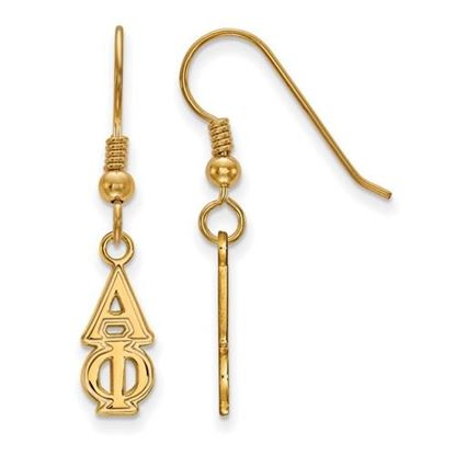 Picture of Alpha Phi Sorority Sterling Silver Gold Plated Small Dangle Earrings