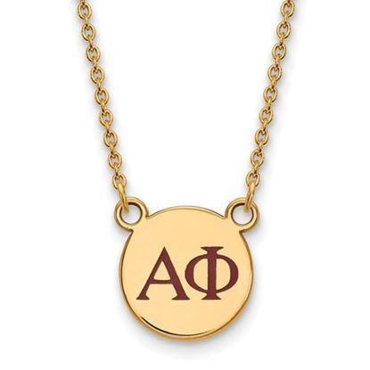 Picture of Alpha Phi Sorority Sterling Silver Gold Plated Extra Small Enameled Pendant Necklace