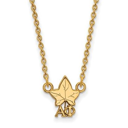 Picture of Alpha Phi Sorority Sterling Silver Gold Plated Extra Small Pendant Necklace