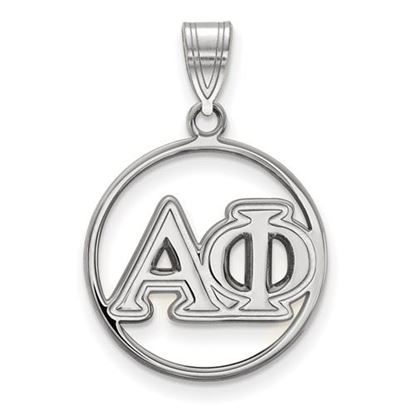 Picture of Alpha Phi Sorority Sterling Silver Circle Pendant