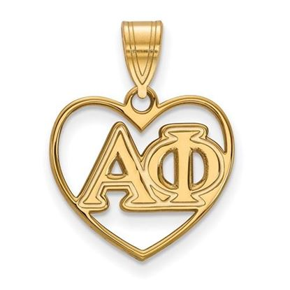 Picture of Alpha Phi Sorority Sterling Silver Gold Plated Heart Pendant