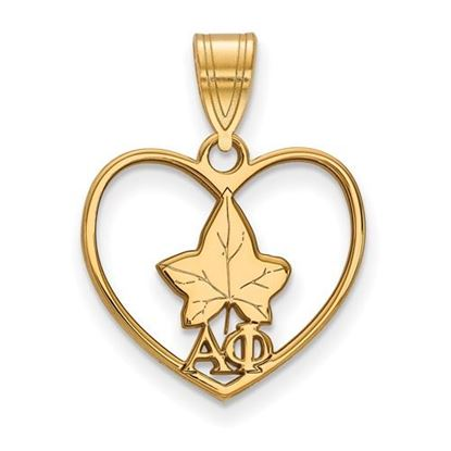 Picture of Alpha Phi Sorority Gold Plated Ivy Leaf Heart Pendant