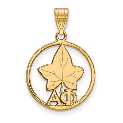Picture of Alpha Phi Sorority Sterling Silver Gold Plated Small Circle Pendant