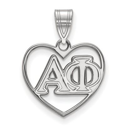 Picture of Alpha Phi Sorority Sterling Silver Heart Pendant