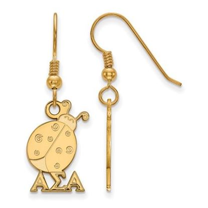 Picture of Alpha Sigma Alpha Sorority Sterling Silver Gold Plated Medium Dangle Earrings