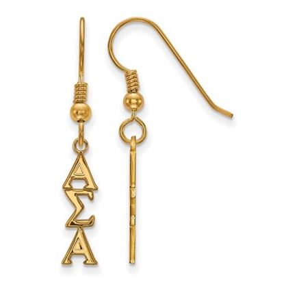 Picture of Alpha Sigma Alpha Sorority Sterling Silver Gold Plated Small Dangle Earrings