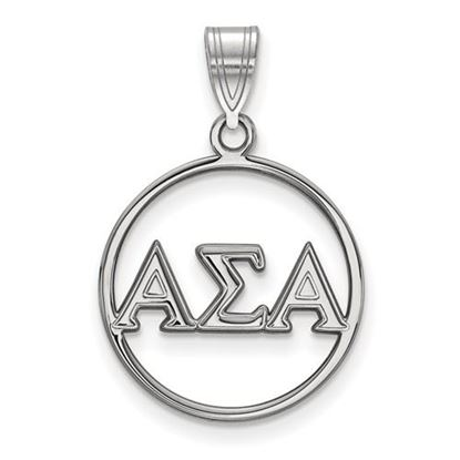 Picture of Alpha Sigma Alpha Sorority Sterling Silver Circle Pendant