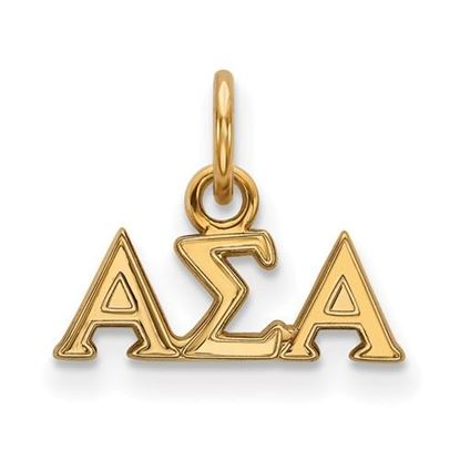 Picture of Alpha Sigma Alpha Sorority Sterling Silver Gold Plated Extra Small Pendant