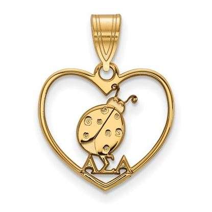 Picture of Alpha Sigma Alpha Sorority Sterling Silver Gold Plated Heart Pendant