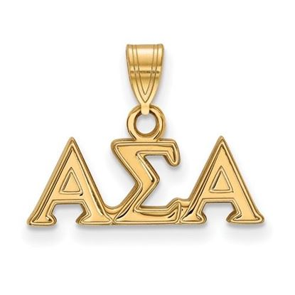 Picture of Alpha Sigma Alpha Sorority Sterling Silver Gold Plated Small Pendant