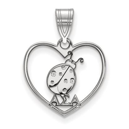 Picture of Alpha Sigma Alpha Sorority Sterling Silver Heart Pendant