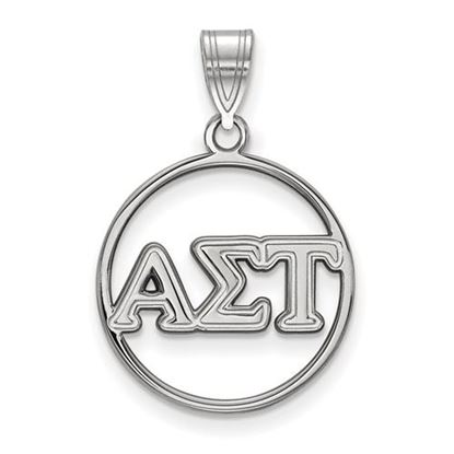 Picture of Alpha Sigma Tau Sorority Sterling Silver Circle Pendant