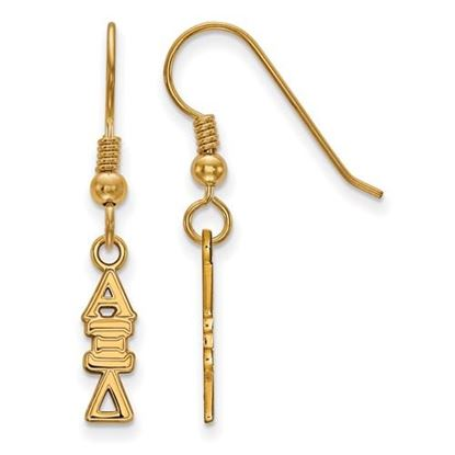 Picture of Alpha Xi Delta Sorority Sterling Silver Gold Plated Small Dangle Earrings