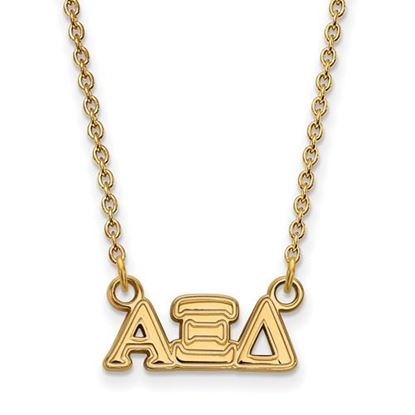 Picture of Alpha Xi Delta Sorority Sterling Silver Gold Plated Extra Small Pendant Necklace
