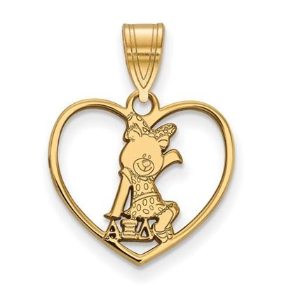 Picture of Alpha Xi Delta Sorority Sterling Silver Gold Plated Heart Pendant