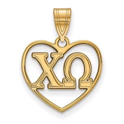 Picture of Chi Omega Sorority Sterling Silver Gold Plated Heart Pendant