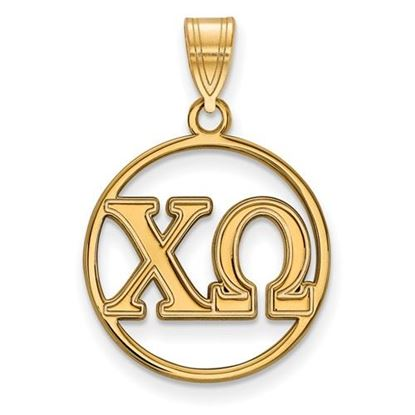 Picture of Chi Omega Sorority Sterling Silver Gold Plated Small Circle Pendant