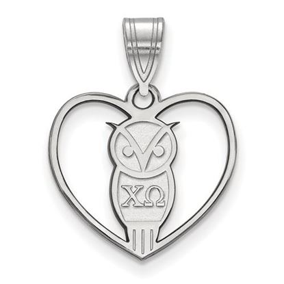 Picture of Chi Omega Sorority Sterling Silver Heart Pendant
