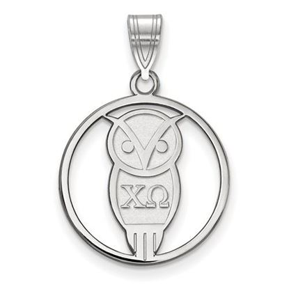 Picture of Chi Omega Sorority Sterling Silver Small Circle Pendant