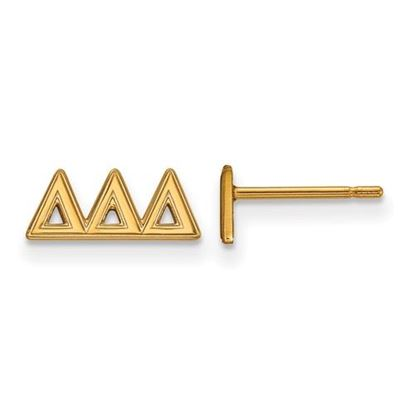 Picture of Delta Delta Delta Sorority Sterling Silver Gold Plated Extra Small Post Earrings