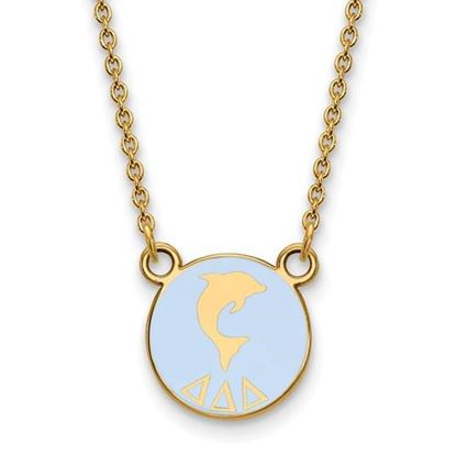 Picture of Delta Delta Delta Sorority Sterling Silver Gold Plated Extra Small Enameled Pendant Necklace