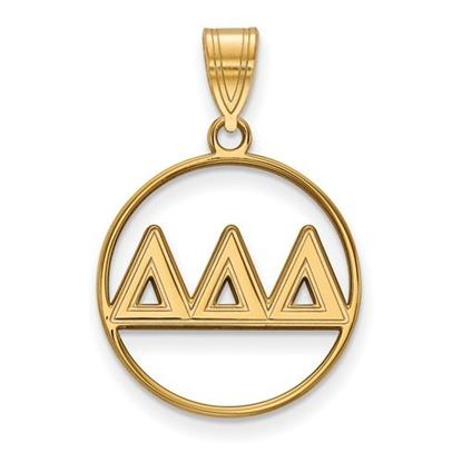 Picture of Delta Delta Delta Sorority Sterling Silver Gold Plated Small Circle Pendant