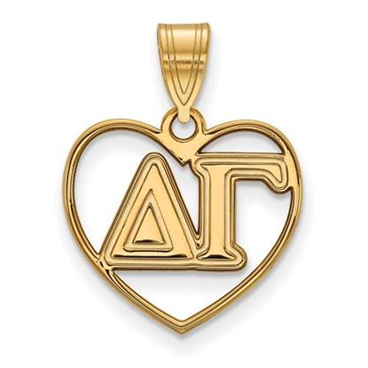 Picture of Delta Gamma Sorority Sterling Silver Gold Plated Heart Pendant