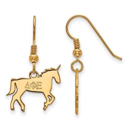 Picture of Delta Phi Epsilon Sorority Sterling Silver Gold Plated Medium Dangle Earrings