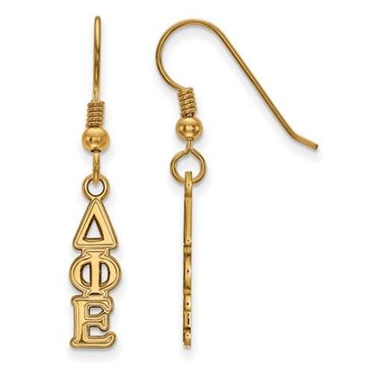 Picture of Delta Phi Epsilon Sorority Sterling Silver Gold Plated Small Dangle Earrings