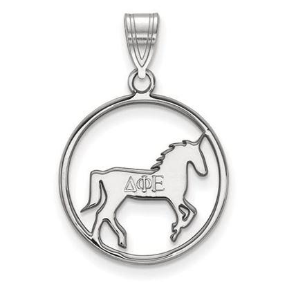 Picture of Delta Phi Epsilon Sorority Sterling Silver Small Circle Pendant