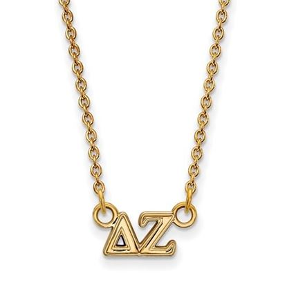 Picture of Delta Zeta Sorority Sterling Silver Gold Plated Extra Small Pendant Necklace