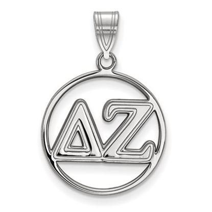 Picture of Delta Zeta Sorority Sterling Silver Circle Pendant