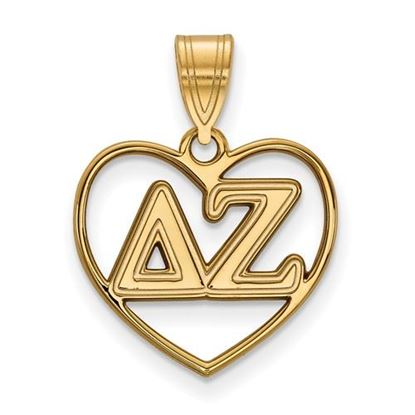 Picture of Delta Zeta Sorority Sterling Silver Gold Plated Heart Pendant
