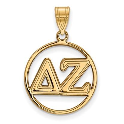 Picture of Delta Zeta Sorority Sterling Silver Gold Plated Small Circle Pendant